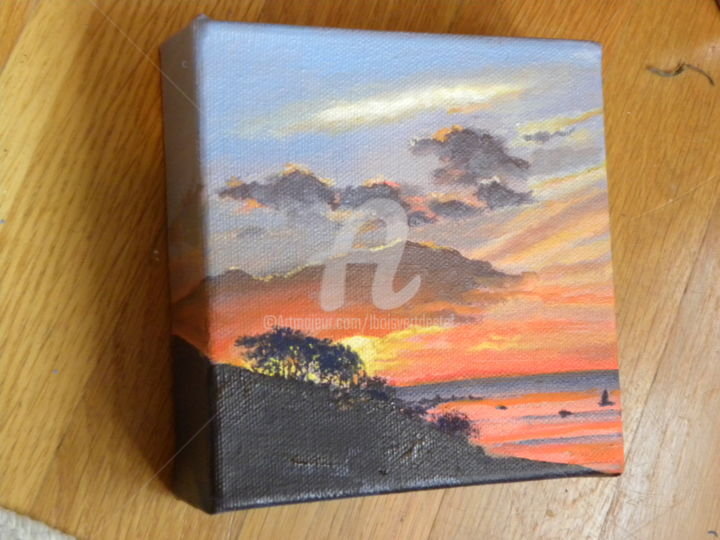 Evening on the Sound - Painting,  1.25x5x5 in ©2013 by Linda Boisvert DeStefanis -                            Realism, On the Sound -    sunset, oil