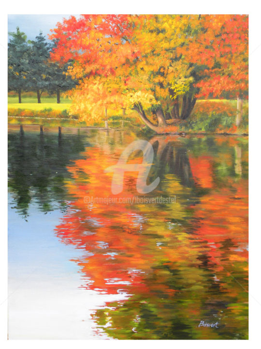 Golden Touch - ©  Oil, pond, reflections, fall Online Artworks