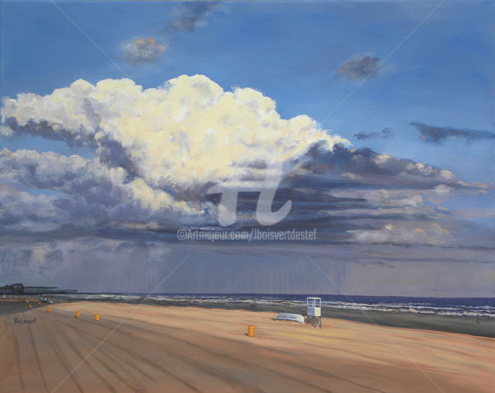 """Distant Darkening""  oil - Painting,  2.5x29x35 in ©2013 by Linda Boisvert DeStefanis -                                                            Realism, Canvas, Beach, beach, sand, clouds, storm, Atlantic City, New Jersey, ocean, boardwalk"