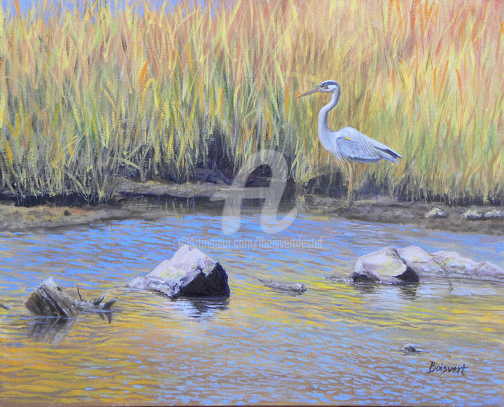 'Sanctuary'  - oil - ©  river, Northeastern, Connecticut, Blue Heron, marshes Online Artworks