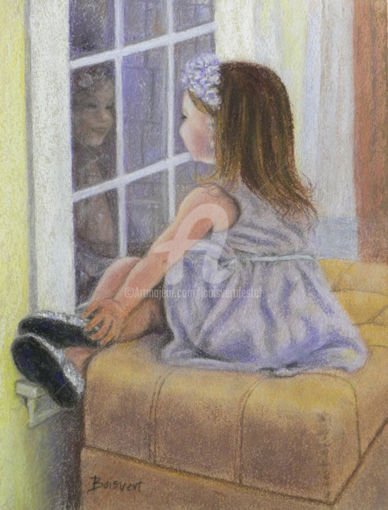 Anticipation - Painting,  7.1x5.9 in, ©2014 by Linda Boisvert Destefanis -                                                                                                                                                                                                                                                                                                                                                              Figurative, figurative-594, Children, pastel, reflection, girl, window