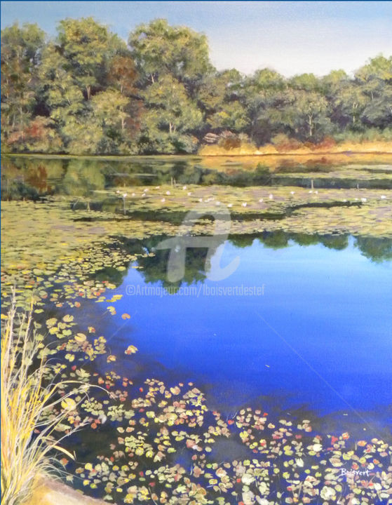 Reflections On Vineyard Pond - Painting,  2.5x33x39 in ©2014 by Linda Boisvert DeStefanis -                                            Realism, Water, John Edward Vineyard, North Stonington, pond, oils, lily pads, reflections, water