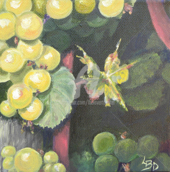 Ripe & Ready - Painting,  1.5x6x6 in ©2014 by Linda Boisvert DeStefanis -                                            Realism, Garden, White grapes on the vine, vineyard, grapes