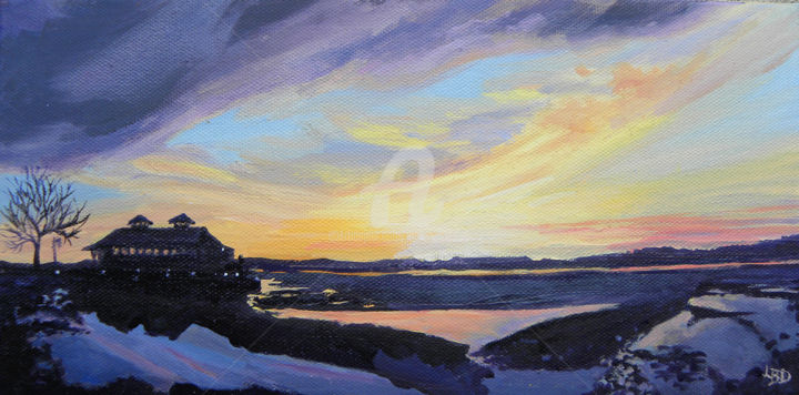 """Thawing Under Gold - Painting,  1x9x15 in, ©2014 by Linda Boisvert DeStefanis -                                                                                                                                                                                                                                                                                                                                                              Figurative, figurative-594, Water, Lake Champlain, Vermont, frozen lake, sunset. Framed with a lovely black wood 1"""" frame with a silvery patena inset"""