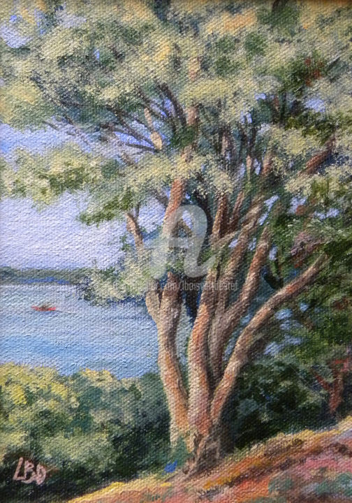 River View - Painting,  1.25x7.5x10 in ©2014 by Linda Boisvert DeStefanis -                                                            Realism, Canvas, Tree, Tree, water