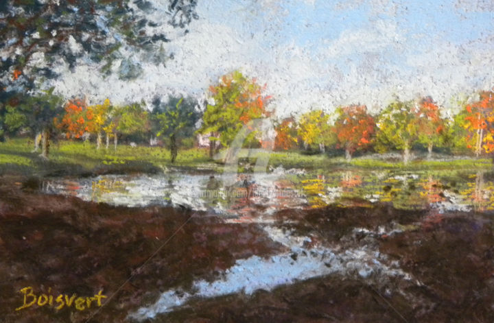 Fall Reflections - Painting,  1.5x8x10 in ©2014 by Linda Boisvert DeStefanis -                                            Realism, Landscape, park, water, trees, pond