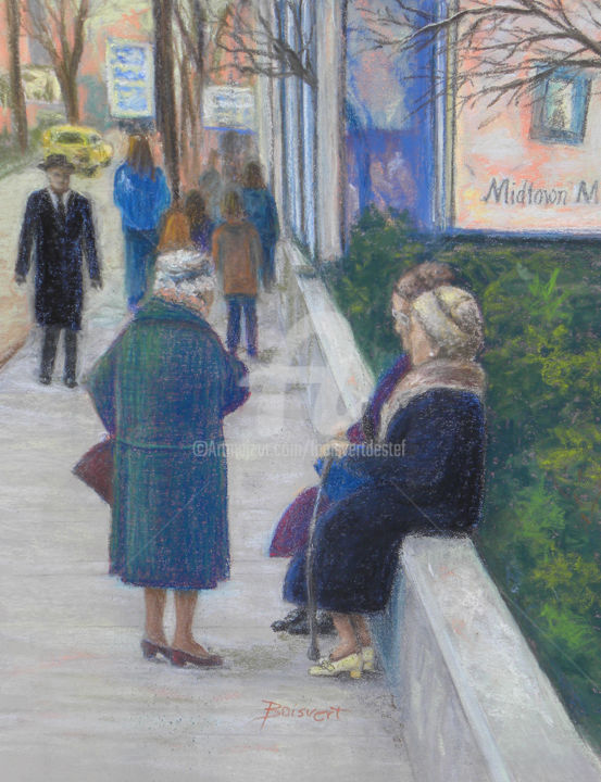 Nostalgic 70's Bus Stop - Painting,  17x14 in, ©2015 by Linda Boisvert Destefanis -                                                                                                                                                                                                                                                                                                                                                              Figurative, figurative-594, People, women, winter city, 70's, New Haven