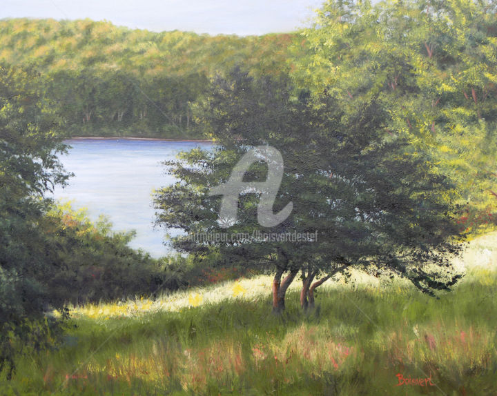 Sunlit Patch 2 - Painting,  1.5x30x24 in ©2015 by Linda Boisvert DeStefanis -                                                            Realism, Canvas, Tree, water, river, tree, patch of light, Connecticut River