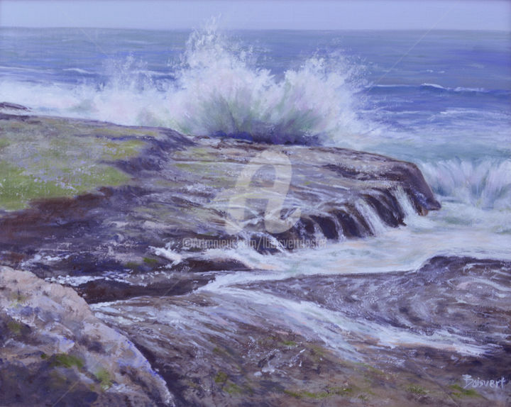 Crashing - Painting,  20x24x2 in, ©2015 by Linda Boisvert DeStefanis -                                                                                                                                                                                                                                                                                                                                                              Figurative, figurative-594, Seascape, waves, rocks, ocean, Laguna Beach