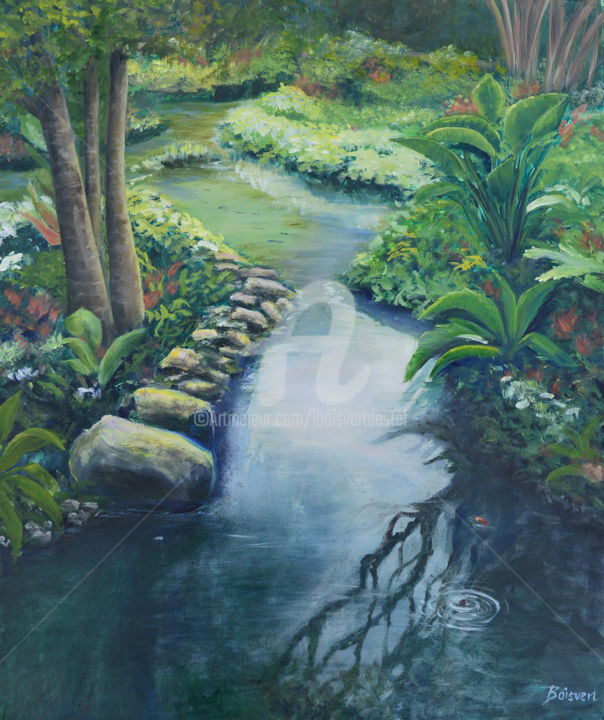 Exotic Gardens - Painting,  29x25x2 in ©2016 by Linda Boisvert DeStefanis -                                                            Realism, Canvas, Garden, Dominican Republic, Punta Cana, gardens, exotic