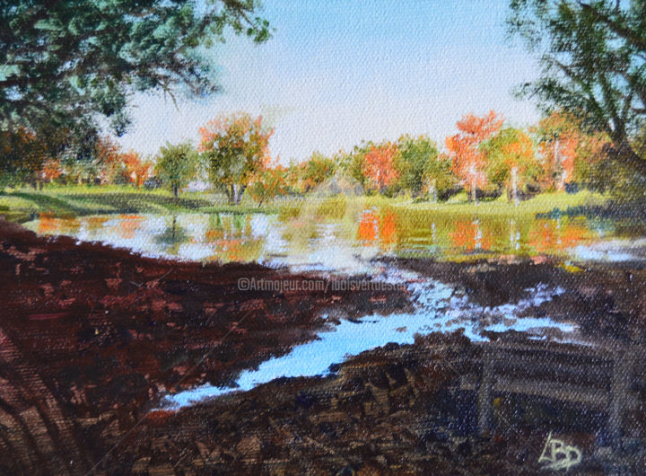 Fall Reflections at the Park - ©  Stanley Park, pond, shade, trees, reflections Online Artworks