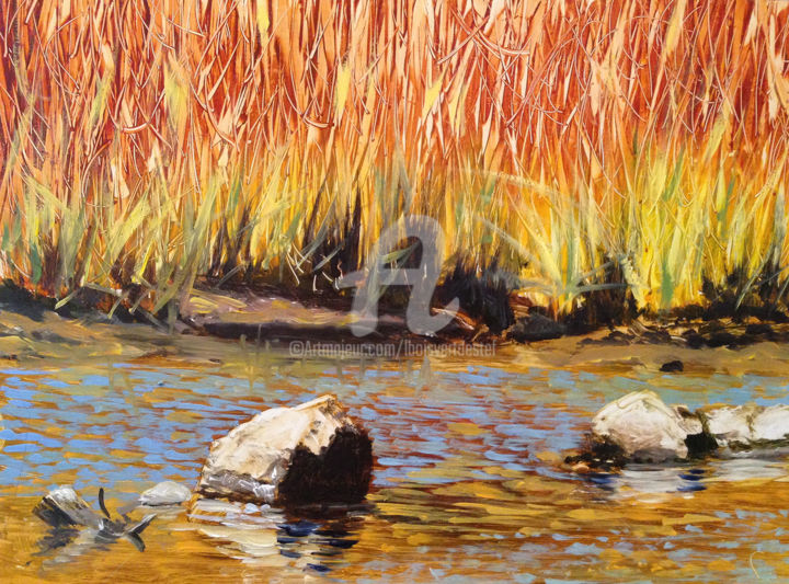 River's Edge - Painting,  9x11x1 in, ©2016 by Linda Boisvert Destefanis -                                                                                                                                                                                                                                                                                                                                                                                                              Figurative, figurative-594, Aluminum, Water, river, edge, marsh, rocks