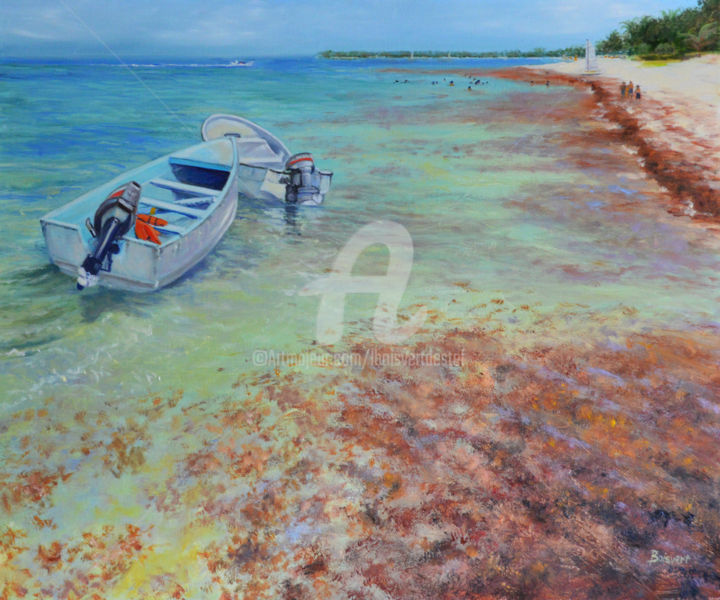 Life is a Beach and a Boat - Painting,  26x30x2 in, ©2016 by Linda Boisvert DeStefanis -                                                                                                                                                                                                                                                                                                                                                                                                                                                      Figurative, figurative-594, Seascape, island, boats, ocean, Caribean, water, sunny day