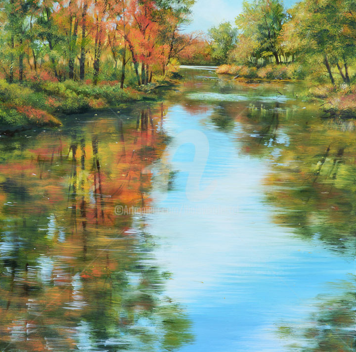 Autumn Reflections - Painting,  24x24x1.5 in ©2016 by Linda Boisvert DeStefanis -                                                            Realism, Canvas, Seasons, autumn, fall, colorful, Connecticut, pond, trees