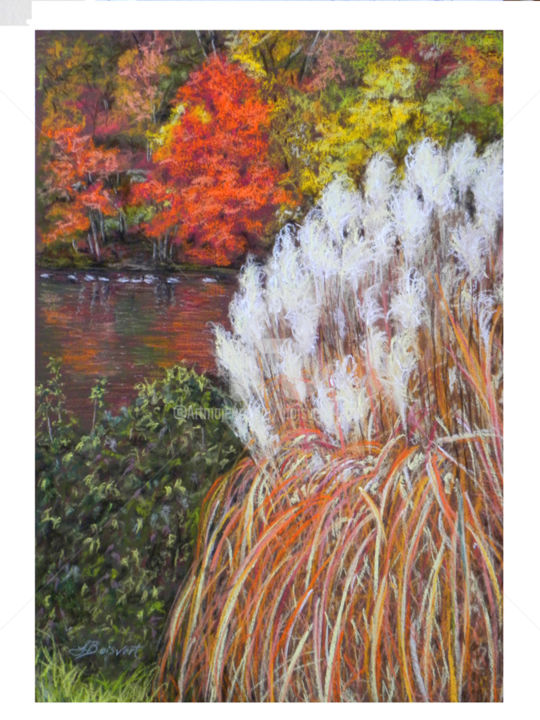 Red Tree on the Pond - Painting,  24x18.5x1 in ©2016 by Linda Boisvert DeStefanis -                                                        Realism, Landscape, Water, water, pond, ducks, geese, reflections, fall