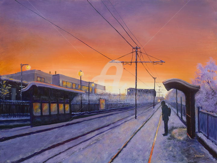 Delayed Departure - Painting,  18x24x1.5 in, ©2017 by Linda Boisvert Destefanis -                                                                                                                                                                                                                                                                                                                                                                                                                                                          Figurative, figurative-594, Aluminum, Train, train station, tracks, sunset, evening, Boston