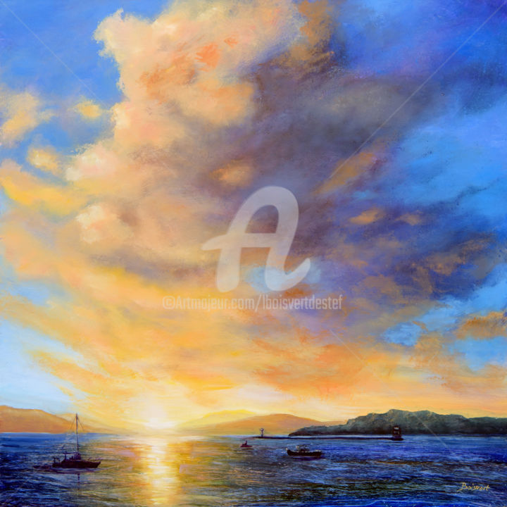 Dynamic Finale - Painting,  30x30x1.5 in ©2017 by Linda Boisvert DeStefanis -                                                            Realism, Aluminum, Water, Lake Champlain, water, clouds, sunset, purple