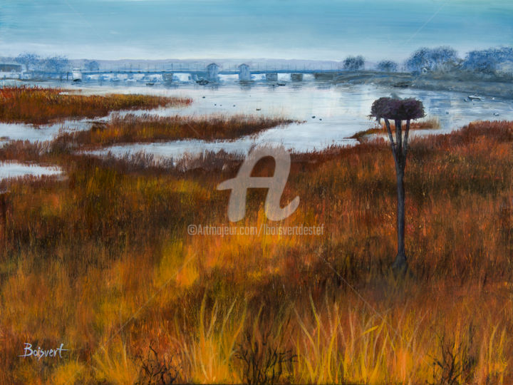 Sleepy Creek - Painting,  18x24x1.5 in, ©2017 by Linda Boisvert Destefanis -                                                                                                                                                                                                                                                                                                                                                                                                                                                                                                                                                  Figurative, figurative-594, Aluminum, Water, Bayville Bridge, creek, water, Osprey nest, marsh, bridge, bay