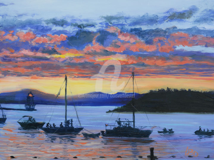 Sharing the View II - Painting,  10x12x1.5 in, ©2017 by Linda Boisvert Destefanis -                                                                                                                                                                                                                                                                                                                                                                                                                                                                                                      Figurative, figurative-594, Aluminum, Boat, Lake Champlain, Vermont, sunset, water, sky, boats
