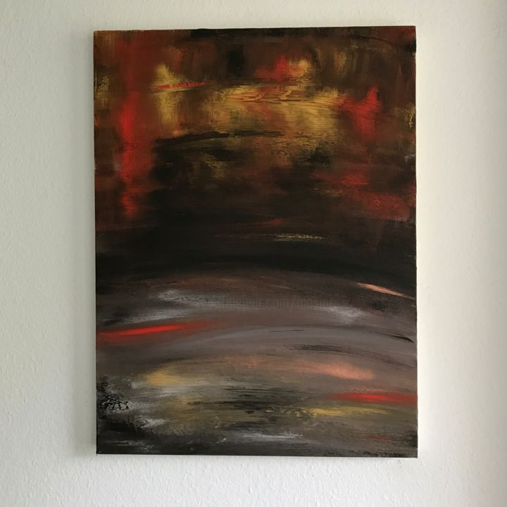 The Radiant Fire inside - Painting,  60x80x4 cm ©2018 by Laura Casini -                                        Abstract Art, Abstract Art