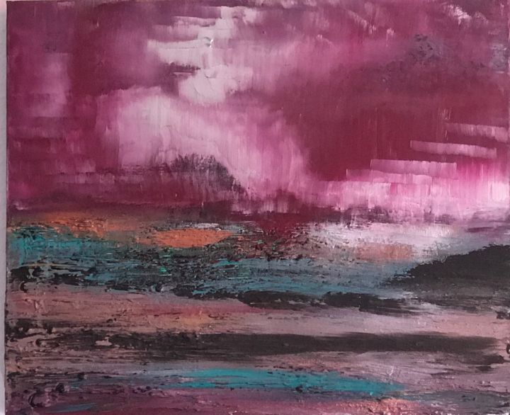 Between two worlds - Painting,  50x70x2 cm ©2018 by Laura Casini -                                        Abstract Art, Abstract Art