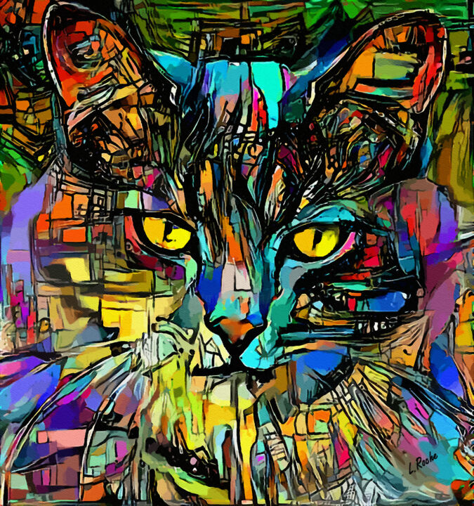 Arnold, cat - 80x80 cm - Mix media paintings - Digital Arts ©2019 by Léa ROCHE -                                            Illustration, Animals, chat, cat, gato