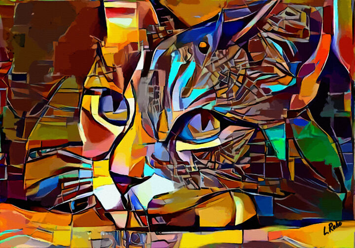 Cat melancolia - 80 x 55 cm - Mix media on panel - Digital Arts ©2019 by Léa ROCHE -                            Animals, cat, chat, gato