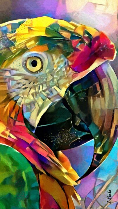 Coco loco - Gouache/inks/ panel - 80x45 cm -parrot - Painting ©2019 by Léa ROCHE -                        Animals