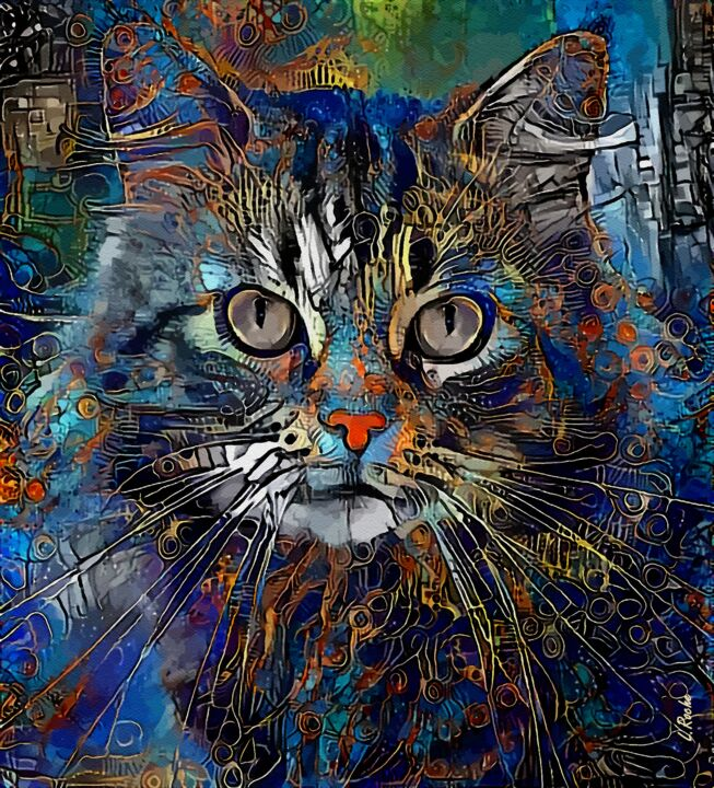 Efraïm - cat, mix media on panel - 70x68 cm - Peinture,  27,6x26,8 in, ©2019 par Léa ROCHE -                                                              Chats