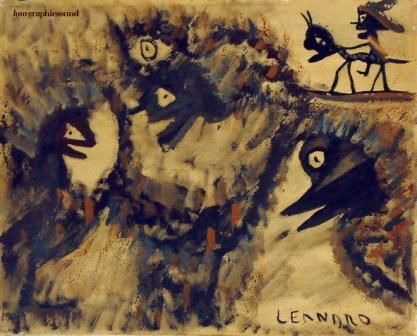 SENZA TITOLO - Painting,  15.8x19.7 in, ©1976 by Ezechiele Leandro (1905-1981) -