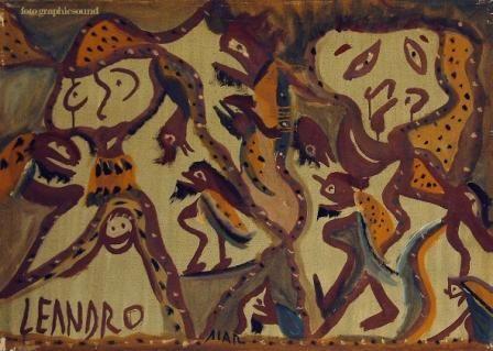 AIAR - Painting,  19.7x27.6 in, ©1976 by Ezechiele Leandro (1905-1981) -