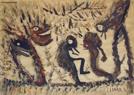ABAR - Painting,  19.7x27.6 in, ©1976 by Ezechiele Leandro (1905-1981) -
