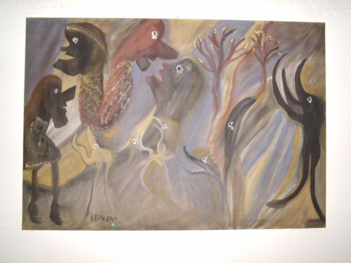 SENZA TITOLO - Painting,  39.4x59.1 in, ©1979 by Ezechiele Leandro (1905-1981) -