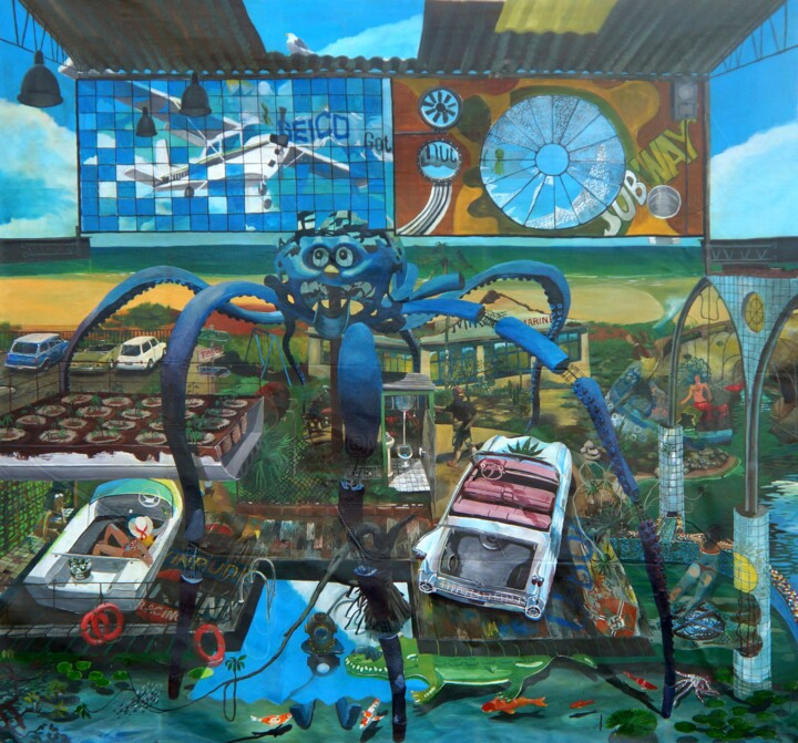 """Painting titled """"Neighborhood Delive…"""" by Leandro Cunha, Original Art, Enamel"""
