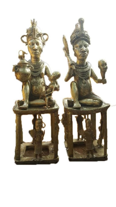 """Sculpture titled """"Royal Couple in Bro…"""" by Leb, Original Art, Bronze"""