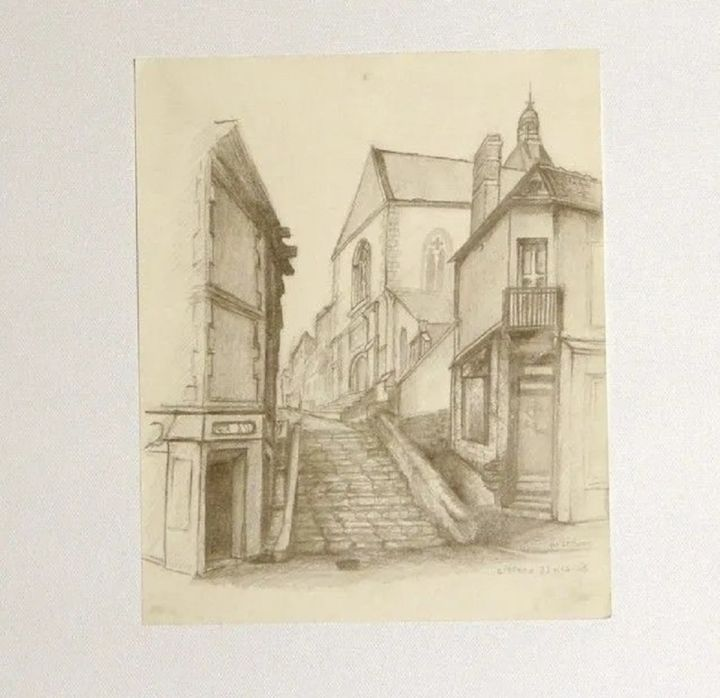 """Drawing titled """"eglise d'epernon"""" by Marc-Charles Le Bars, Original Art, Conté"""
