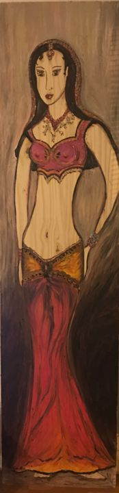 Danseuse indienne traditionnelle rose  sur bois - Peinture,  78,7x19,7x0,8 in, ©2018 par VLC -                                                                                                                                                                                                                                                                                                                  Figurative, figurative-594, Arts de la scène, danse, indienne, tradition