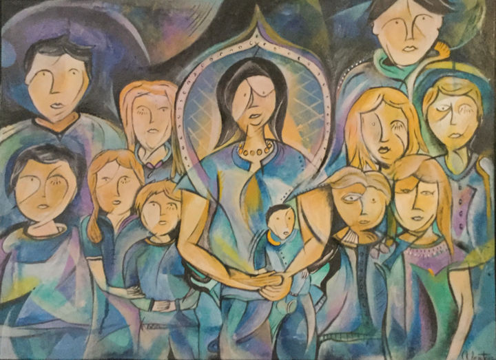 Mme Toulemonde et ses petits enfants - Painting,  60x80x2 cm ©2018 by Ch Lecoutre -                                                                        Abstract Art, Abstract Expressionism, Canvas, Family, Famille, Personnage, Abstrait, Art, family