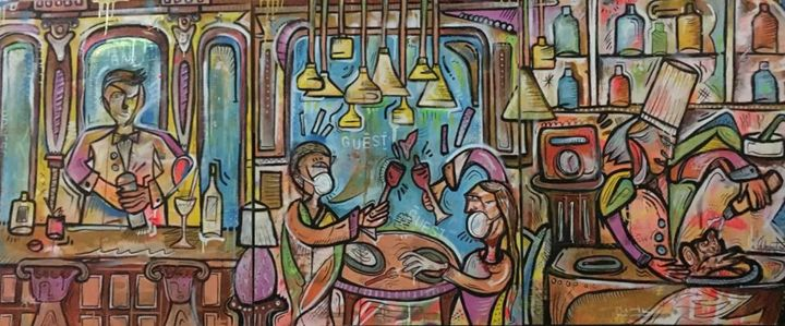 Social Club Saigon - Painting,  120x300x3 cm ©2018 by Ch Lecoutre -                                                                        Expressionism, Canvas, Interiors, People, Saigon, saigonchefsweek, Christopher Lecoutre, Hotel des Arts Saigon