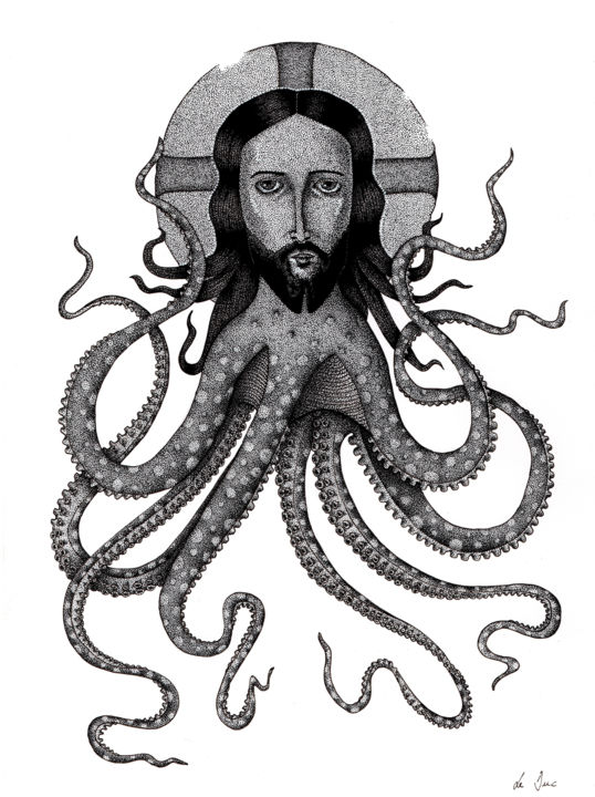 """Drawing titled """"Octopus"""" by Marjorie Sarcelle, Original Art, Ink"""