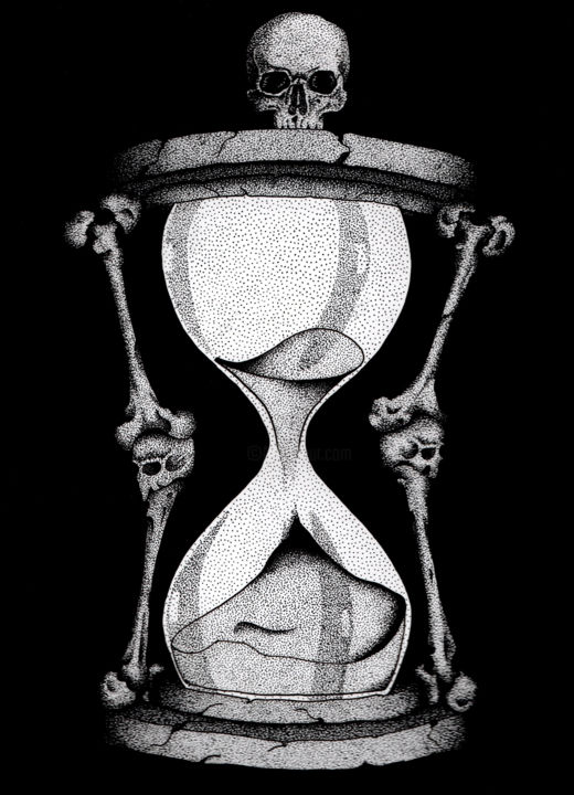 """Drawing titled """"Le temps file"""" by Marjorie Sarcelle, Original Art, Ink"""