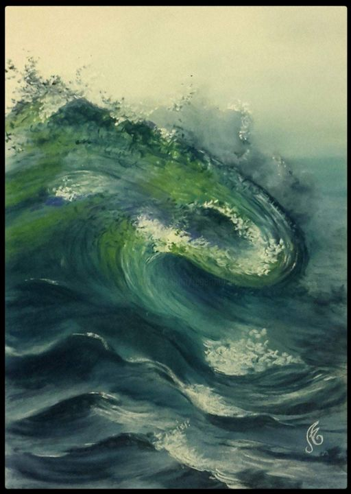 Paysages-Libres-n-93.jpg - Painting,  19.7x15.8 in, ©2018 by Murielle Léger -                                                              Seascape