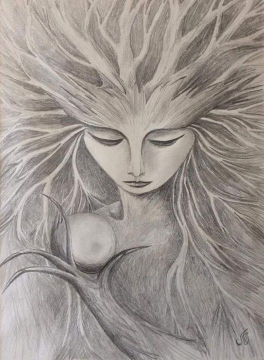 Spirit-portrait-n1-Crayon-graphite-2006.png - Drawing, ©2018 by Murielle Léger -