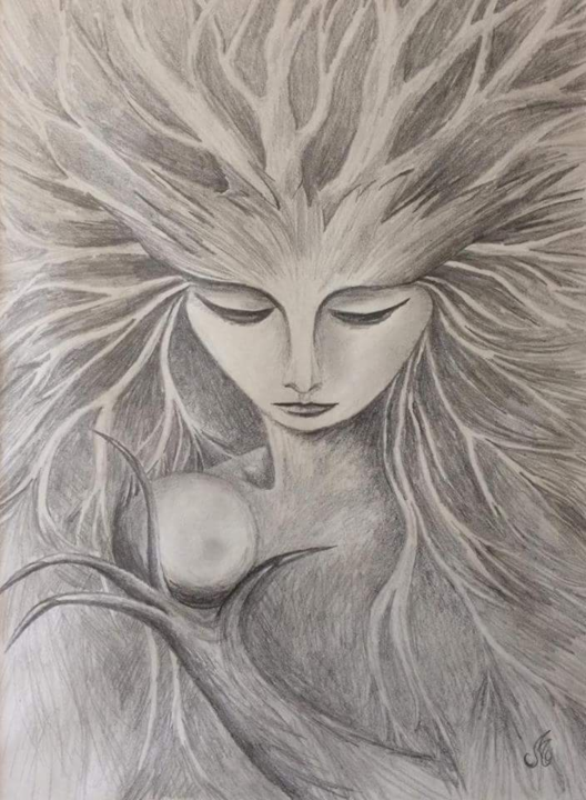 Spirit-portrait-n1-Crayon-graphite-2006.png - Drawing ©2018 by Murielle Léger -                        Paper