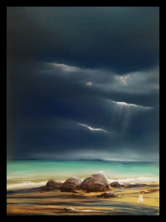 Paysages-Libres-n-73.jpg - Painting,  19.7x15.8 in, ©2016 by Murielle Léger -