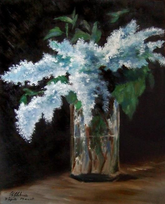 Bouquet de lilas - Painting,  27x35 cm ©2012 by Lydie Le Gléhuir -