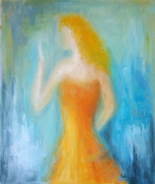 Red-haired - Painting,  21.3x18.1 in, ©2011 by Lela Jobadze -