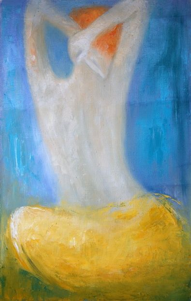 Figure in yellow - Painting,  25.6x16.1 in, ©2011 by Lela Jobadze -