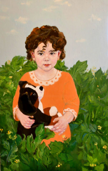 sara.jpg - Painting,  80x50x1.5 cm ©2018 by lubalem -                                                                                                                                                                    Figurative Art, Impressionism, Land Art, Portraiture, Realism, Canvas, Colors, Family, Kids, Landscape, Nature, Portraits
