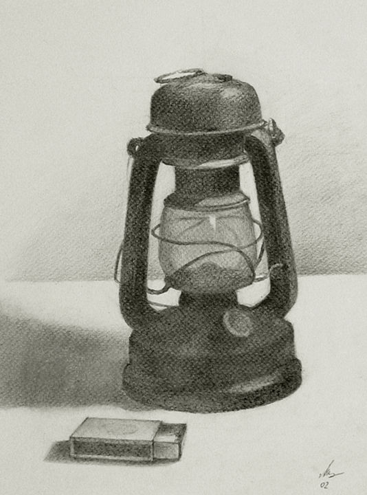The old lamp.jpg - Drawing ©2014 by lubalem -                                                            Realism, Paper, Still life, Still life, Drawing, Old lamp